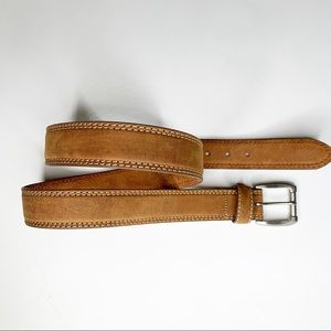 Tan leather western white stitched casual belt 42